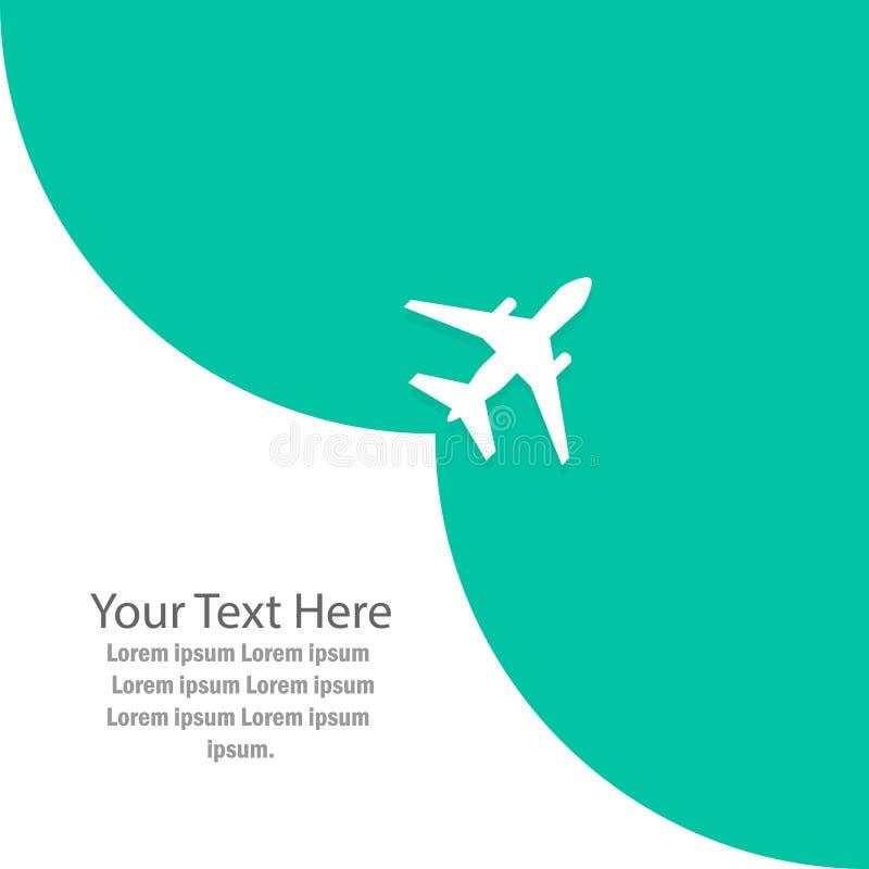 Самолет принимает, пустое место для рекламировать иллюстрация штока