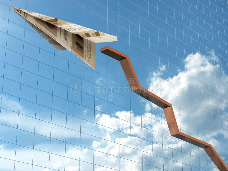 самолет рисует диаграмму иллюстрация вектора