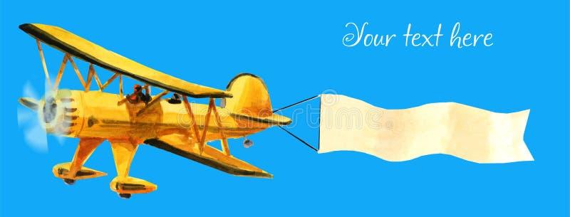 Самолет с рекламой самолет-биплан ellow с белой лентой в голубом небе бесплатная иллюстрация
