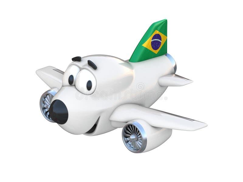 Самолет шаржа с усмехаясь флагом стороны бразильским иллюстрация штока