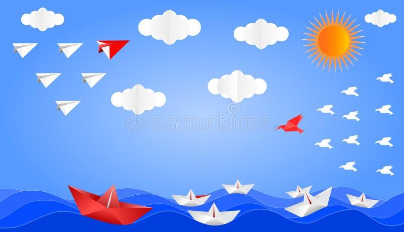 Самолет, шлюпка и птица сложенные от бумаги иллюстрация вектора