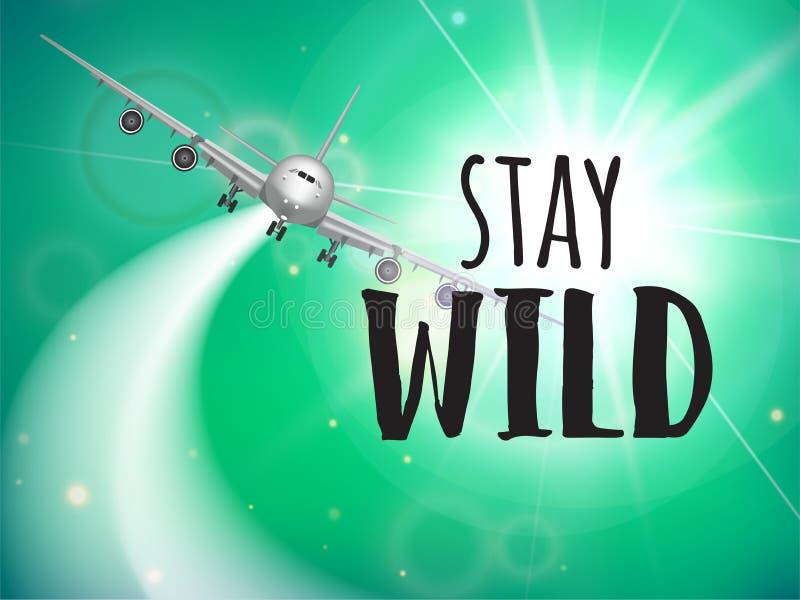 Самолет realisitc wuth рогульки перемещения и конструированный текст badged Рекламировать шаблон дизайна иллюстрация штока