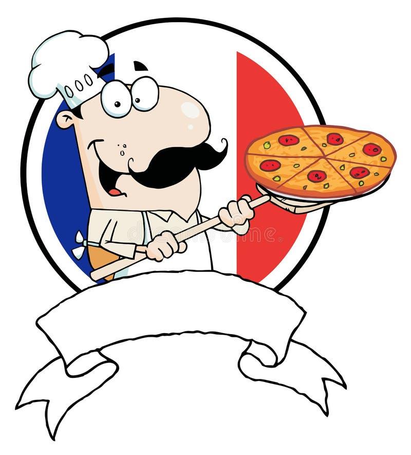 Самолюбивый шеф-повар вводя пиццу pepperoni перед иллюстрация штока