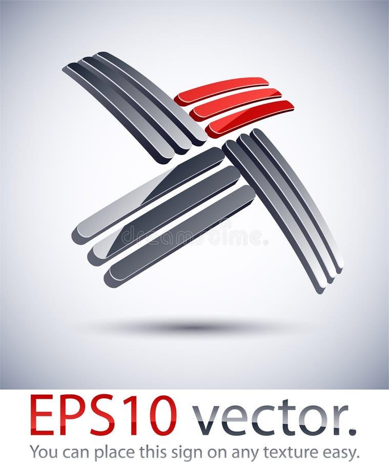 самомоднейшая перекрестная икона логоса 3D. бесплатная иллюстрация