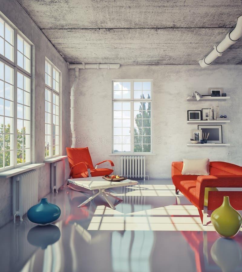 Самомоднейшая просторная квартира иллюстрация вектора