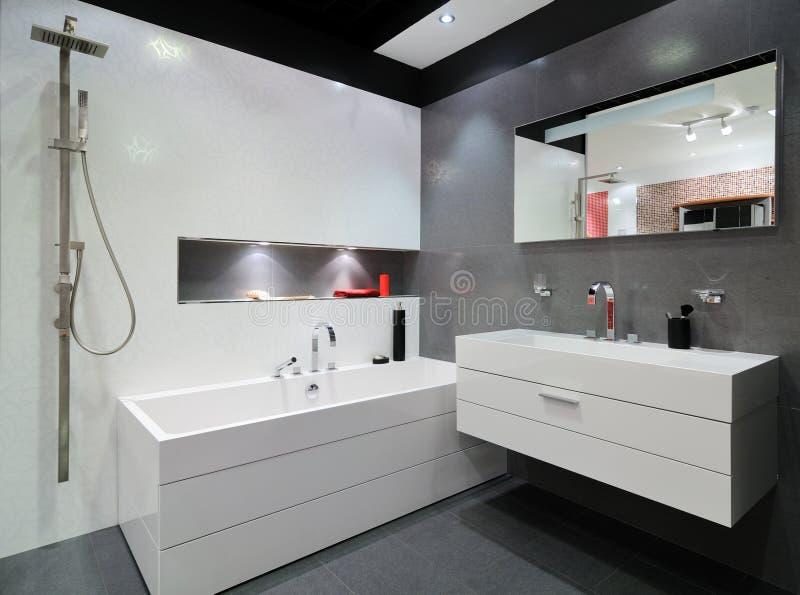 Самомоднейшая серая ванная комната стоковая фотография