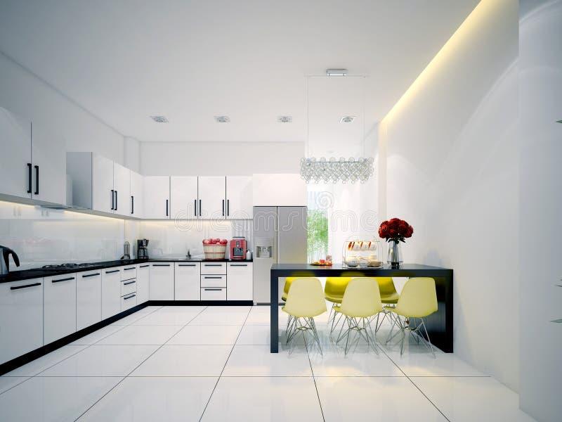 Самомоднейшая современная белая кухня стоковое изображение rf