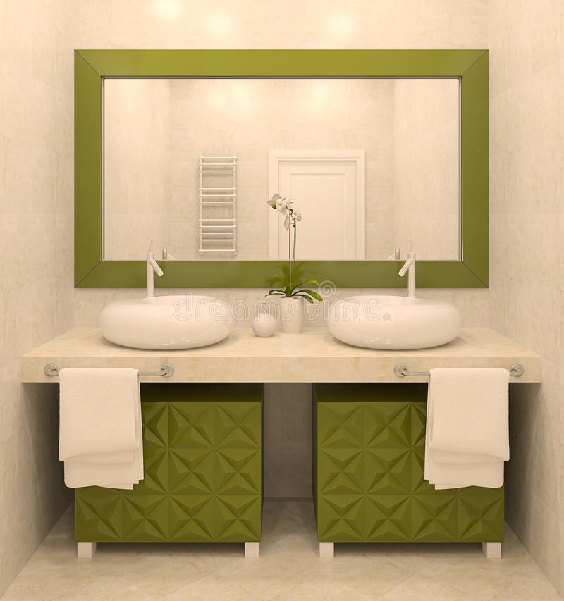 самомоднейшее ванной комнаты нутряное иллюстрация штока