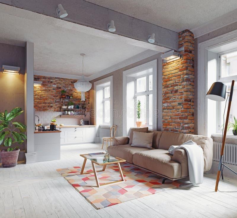 самомоднейшее квартиры нутряное иллюстрация вектора