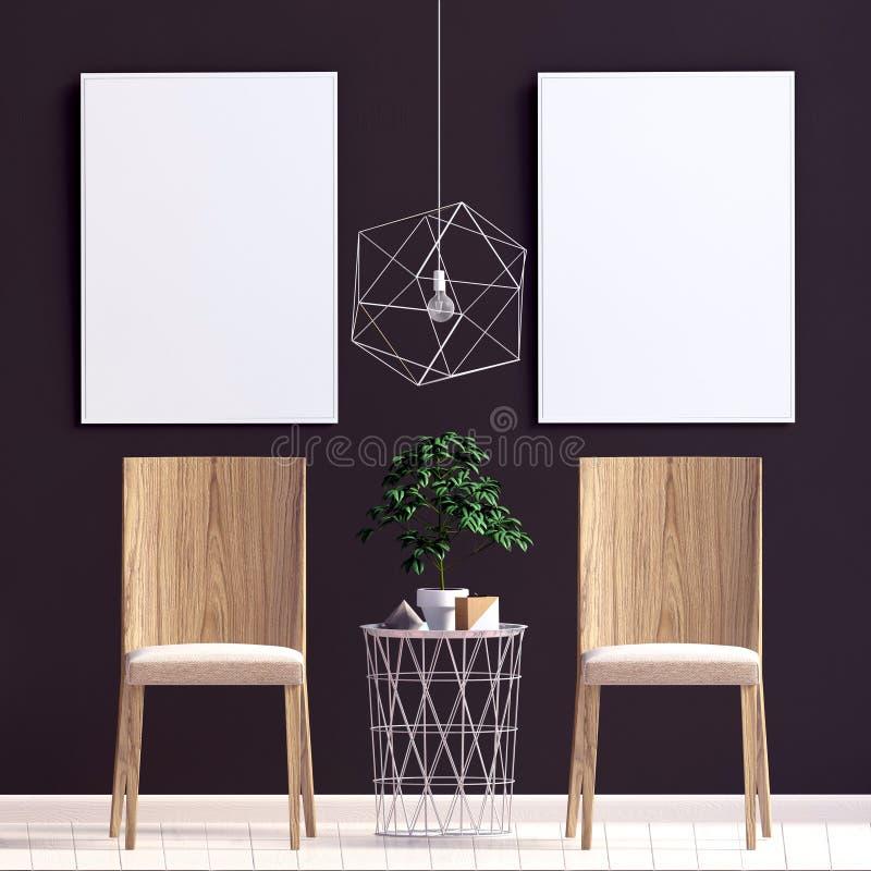 самомоднейшее стула нутряное Насмешка плаката вверх иллюстрация вектора