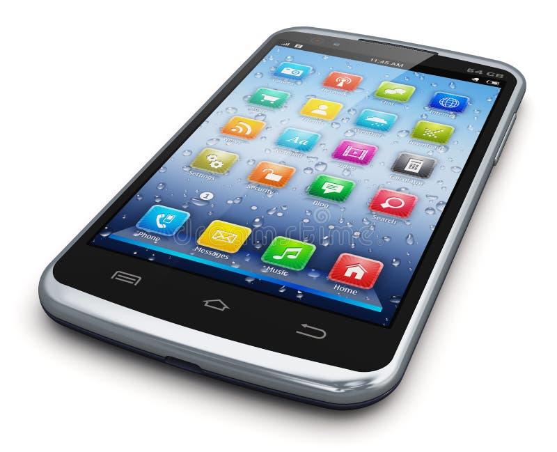 Самомоднейшее smartphone сенсорного экрана иллюстрация штока