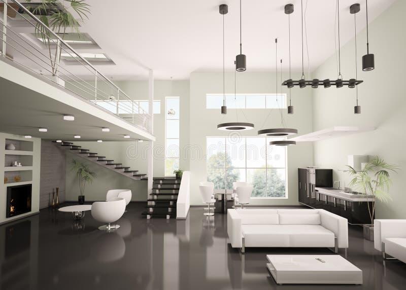 самомоднейшие квартиры 3d нутряные представляют иллюстрация вектора