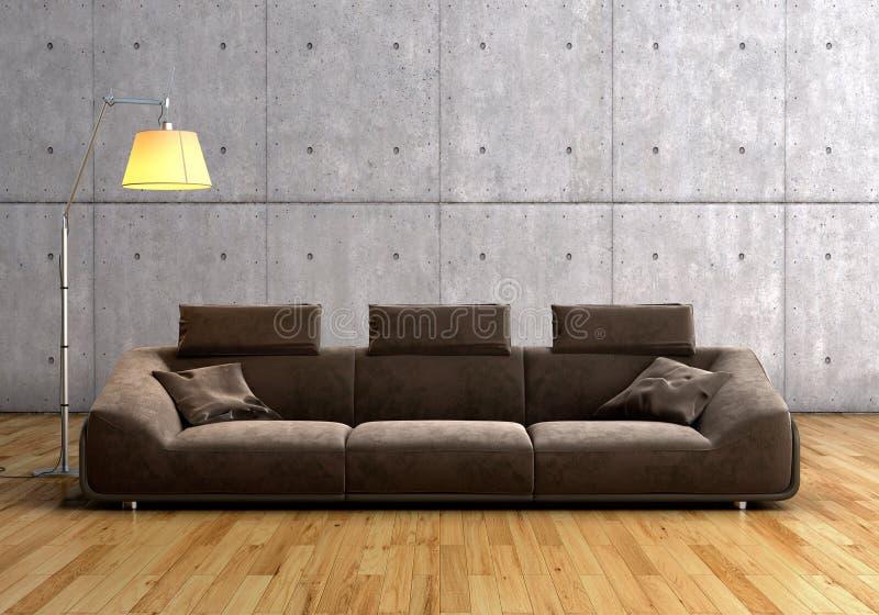 Самомоднейшие коричневые софа и светильник стоковое фото