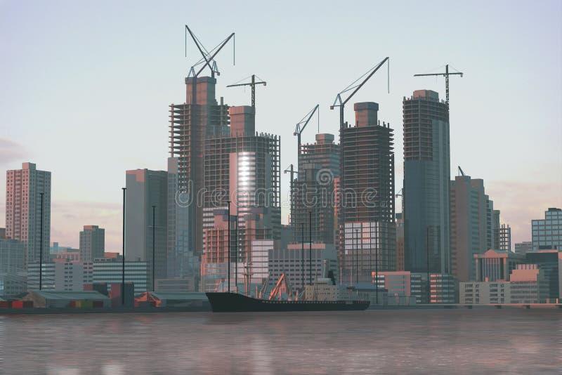 Самомоднейший город под конструкцией стоковая фотография rf