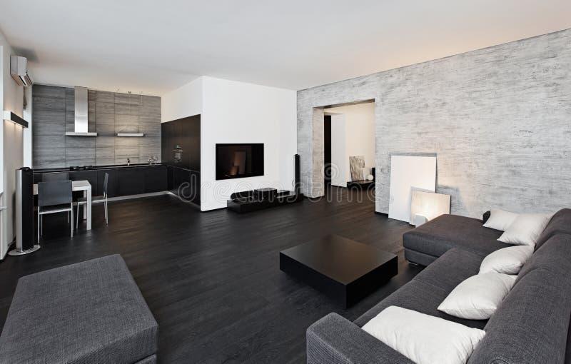 Самомоднейший интерьер drawing-room типа minimalism стоковое изображение rf