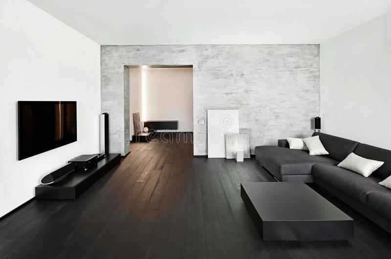 Самомоднейший интерьер drawing-room типа minimalism стоковые изображения