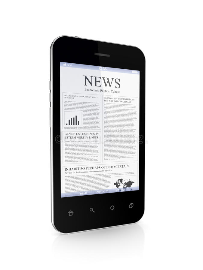 Самомоднейший мобильный телефон весточка на экране. бесплатная иллюстрация