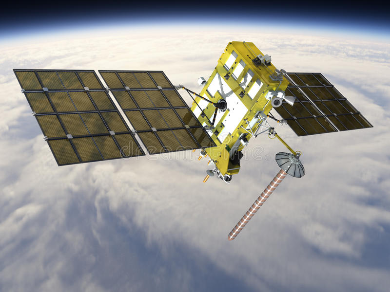 самомоднейший спутник навигации иллюстрация вектора