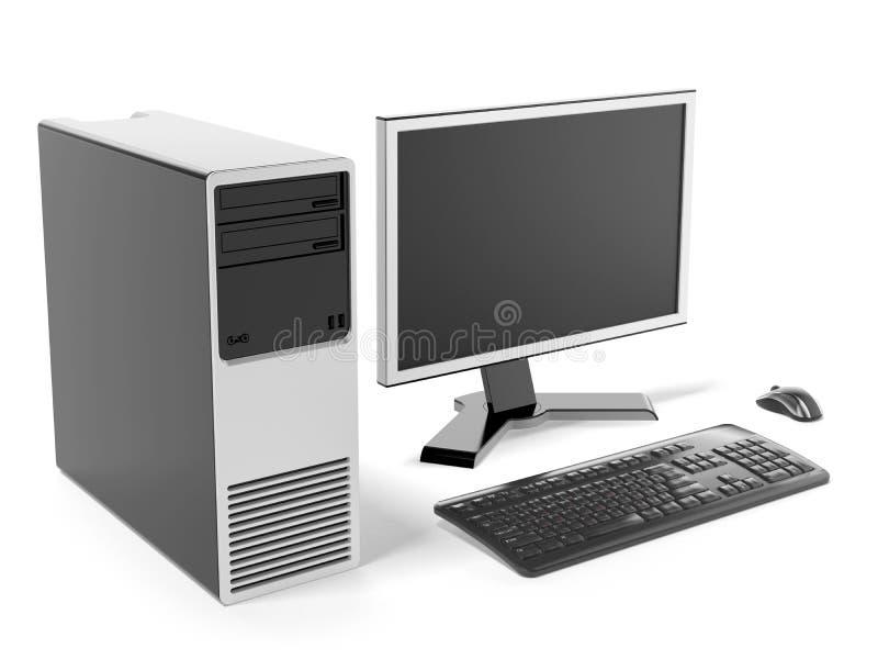 Самомоднейший черный настольный компьютер иллюстрация штока