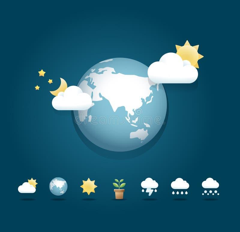 Самомоднейшую конструкцию цвета икон погоды/можно использовать для infographics иллюстрация штока