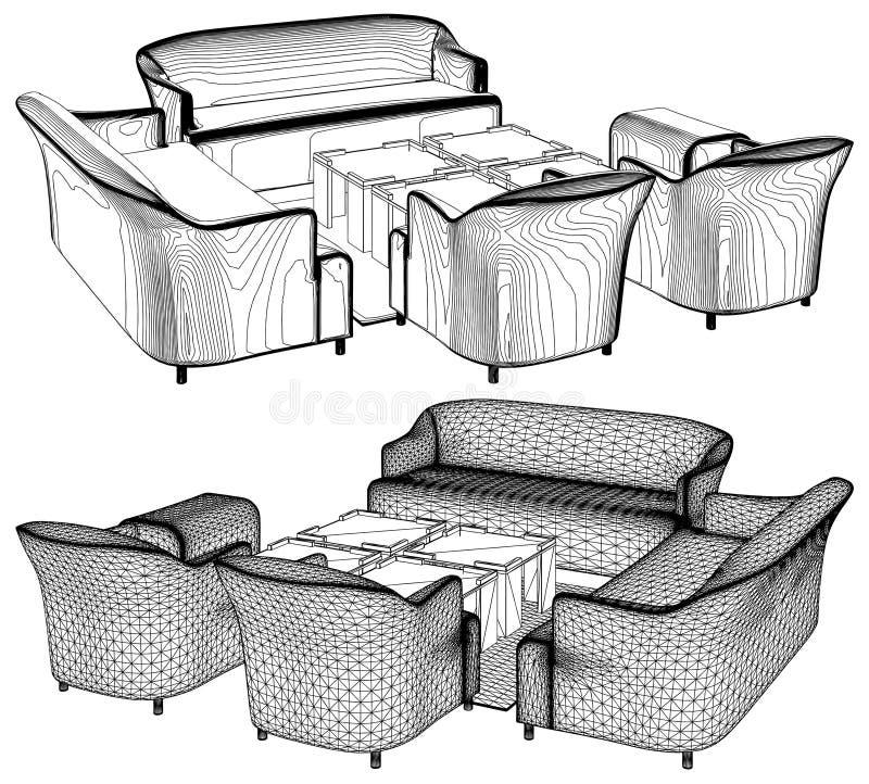 Самомоднейший вектор 11 мебели живущей комнаты иллюстрация вектора