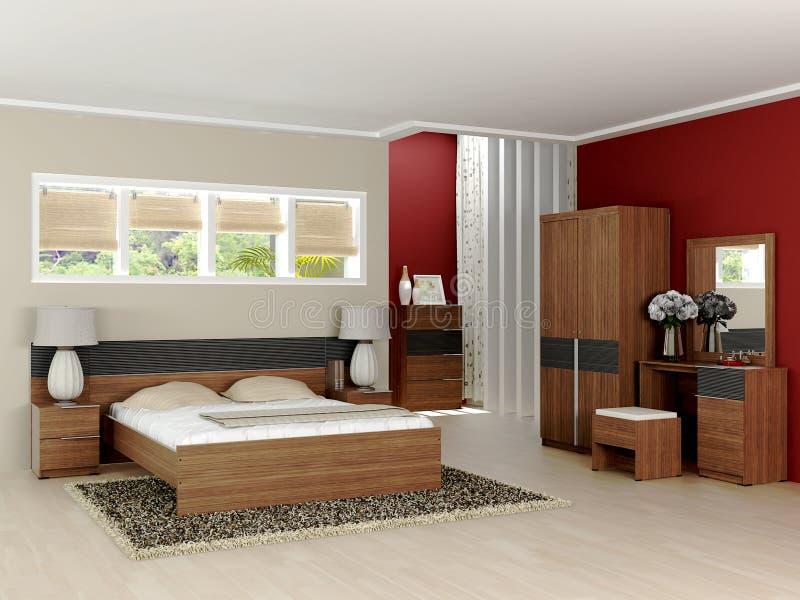 Самомоднейший минималист интерьер спальни стоковое изображение rf