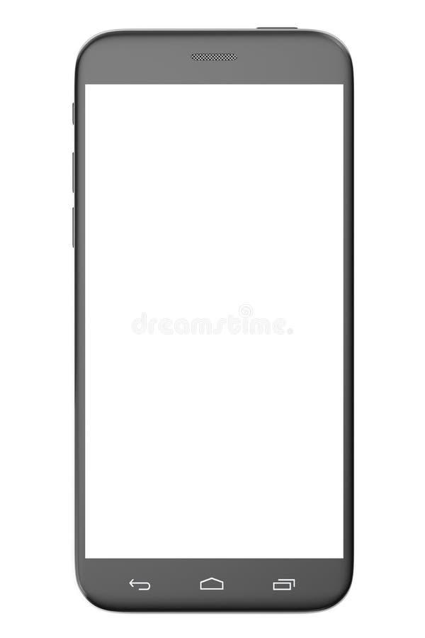 самомоднейший телефон франтовской Белый экран для модель-макета, изолированный на белой предпосылке, иллюстрация 3d иллюстрация вектора