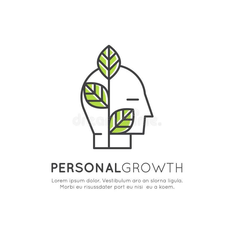 Саморазвитие, образование, личная концепция роста иллюстрация вектора
