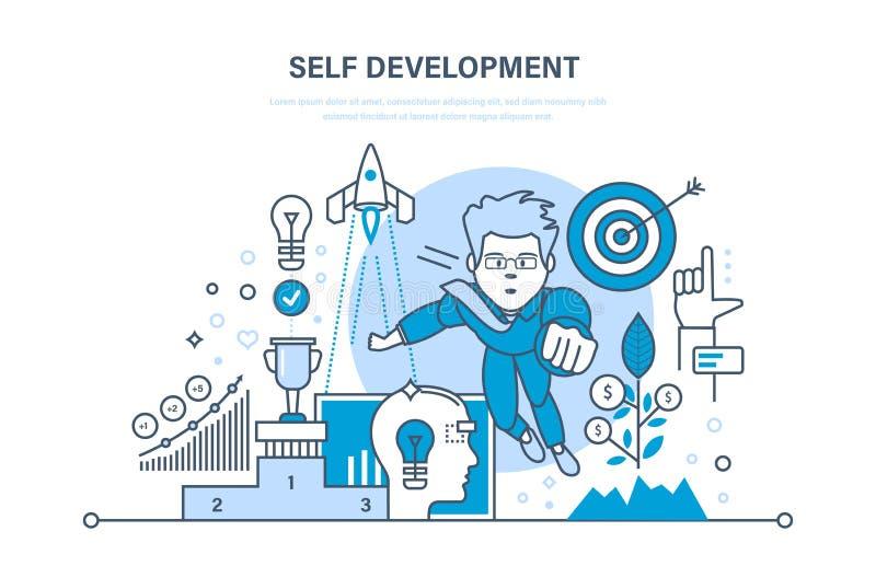 Саморазвитие Финансы роста и работа успеха Практика, запуск, руководство иллюстрация вектора