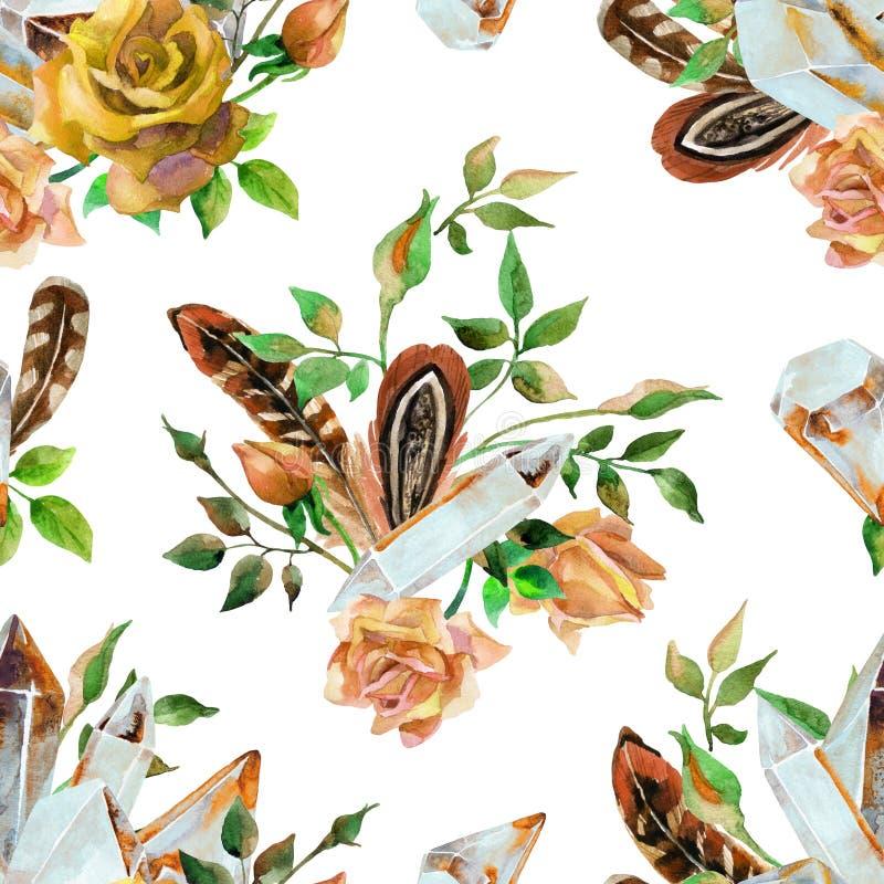 Самоцветы акварели, пер и картина цветков безшовная бесплатная иллюстрация