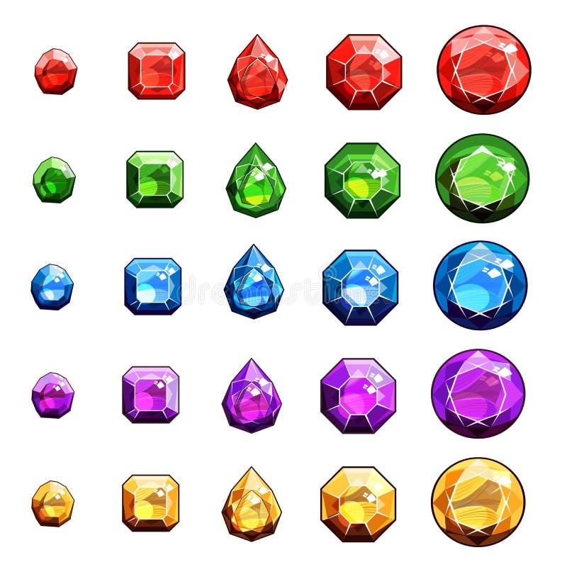 Самоцветы и установленные значки диамантов иллюстрация штока