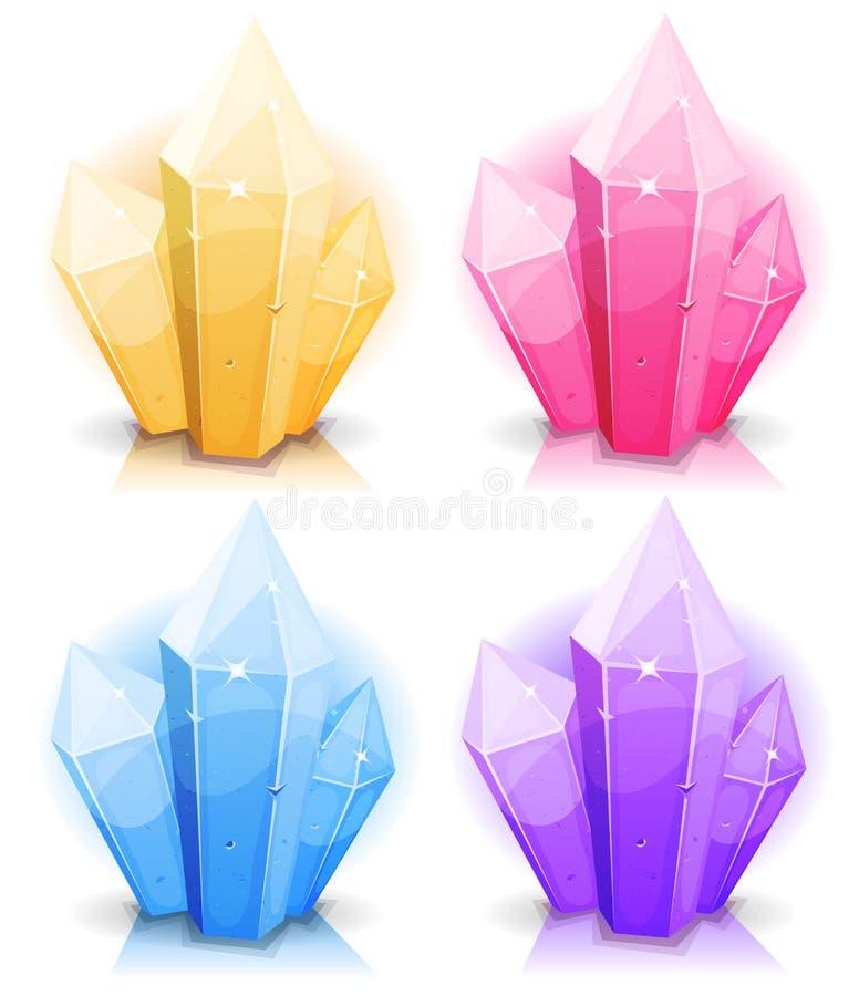 Самоцветы шаржа и установленные значки диамантов иллюстрация штока