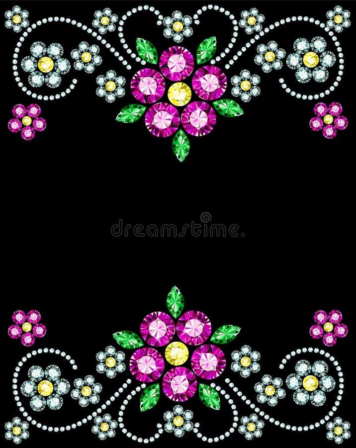 Самоцвет цветет рамка иллюстрация штока