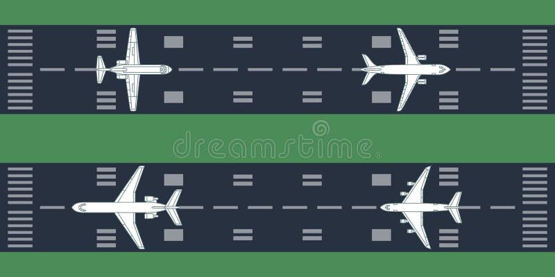 Самолеты на взлётно-посадочная дорожка иллюстрация штока