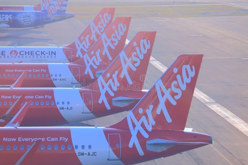 Самолеты Air Asia стоковые фотографии rf