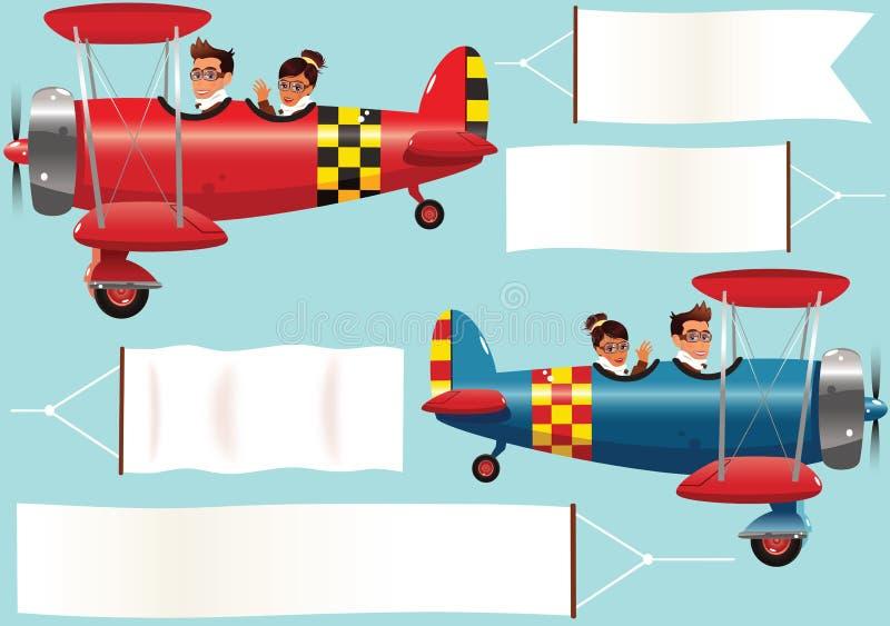 Самолет-бипланы и знамена бесплатная иллюстрация