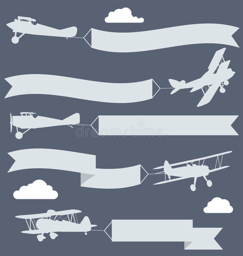 Самолет-бипланы с волнистым знаменем приветствиям иллюстрация штока