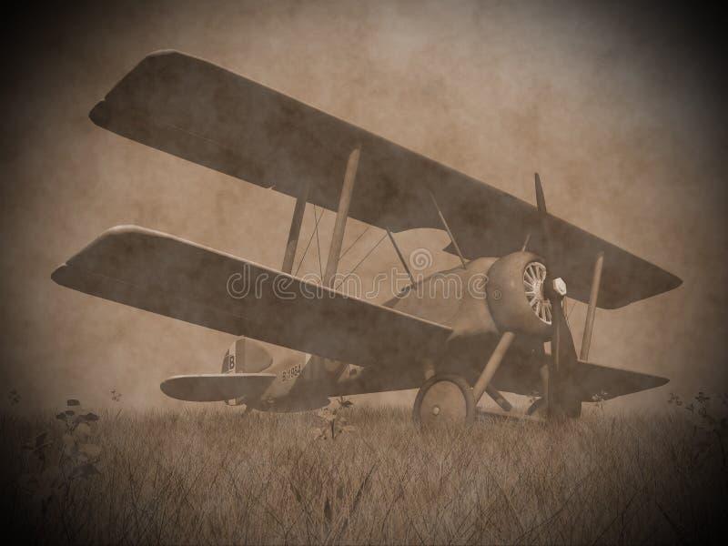 Самолет-биплан на траве - 3D представляют бесплатная иллюстрация