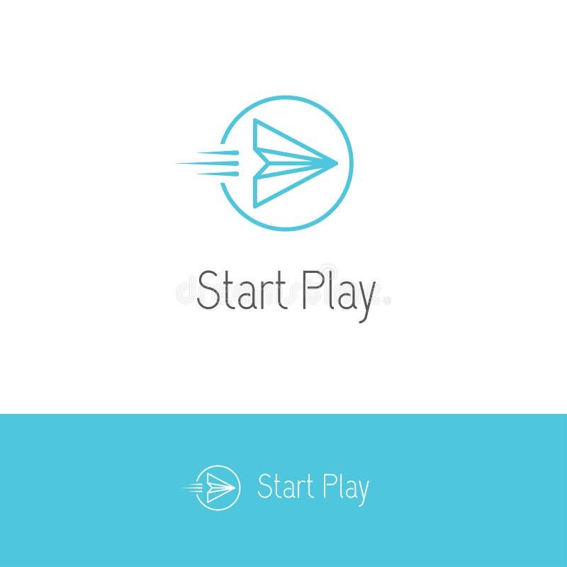 Самолет бумаги летания выглядеть как кнопка игры или старта иллюстрация вектора