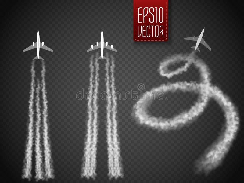 Самолет вектора с иллюстрацией конденсационного следа иллюстрация штока