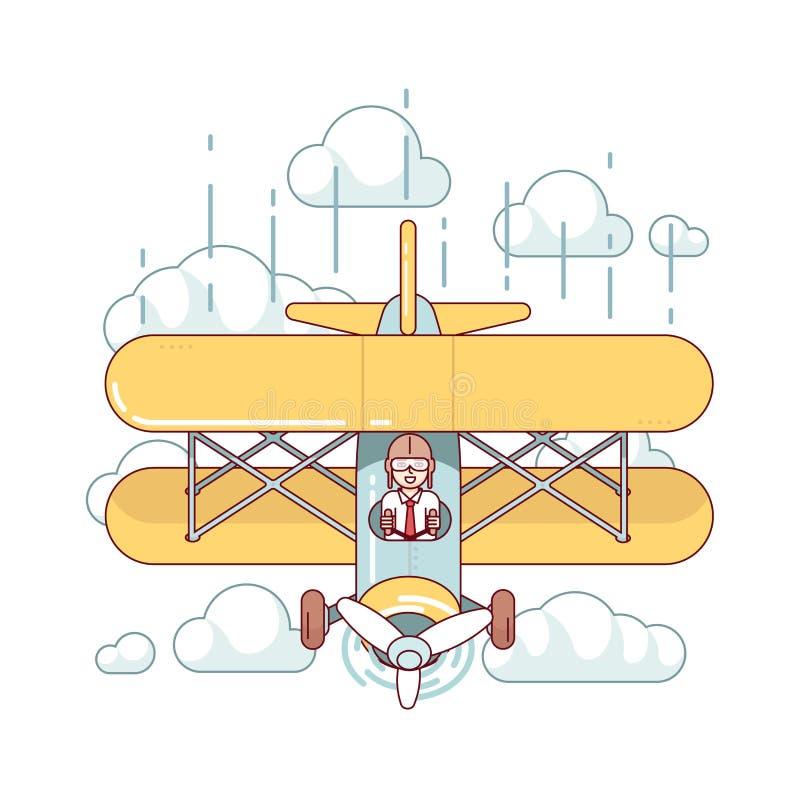 Самолет воздуха двухэтажного автобуса летания бизнесмена пилотный иллюстрация вектора