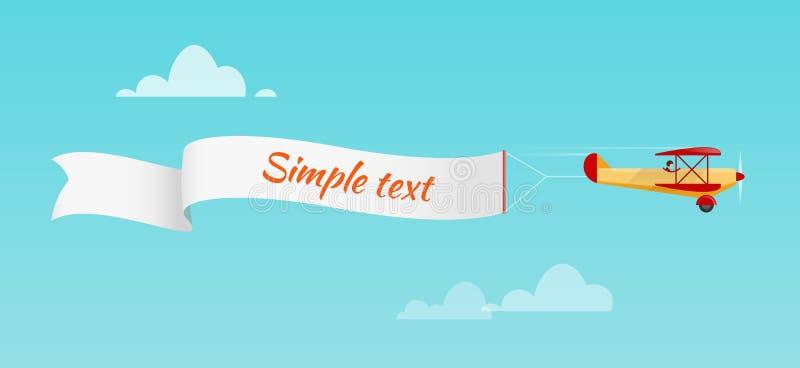 Самолет вытягивает знамя рекламы иллюстрация вектора