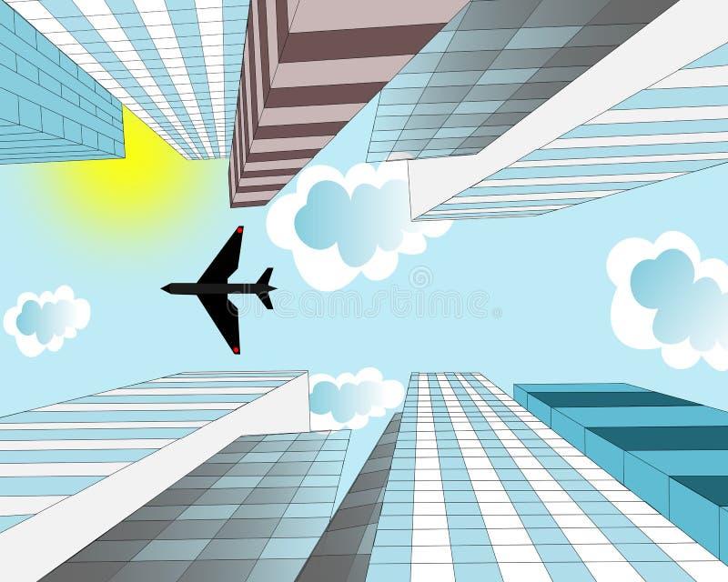 Самолет летает в небо над небоскребами в иллюстрация вектора