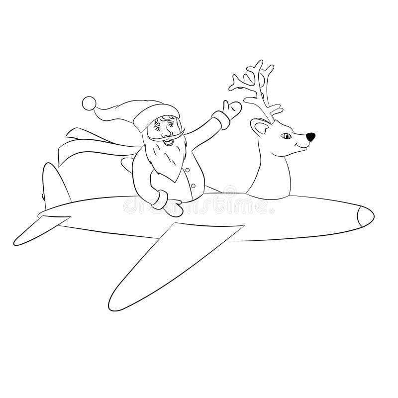 Самолет летания Санта Клауса стоковое фото rf