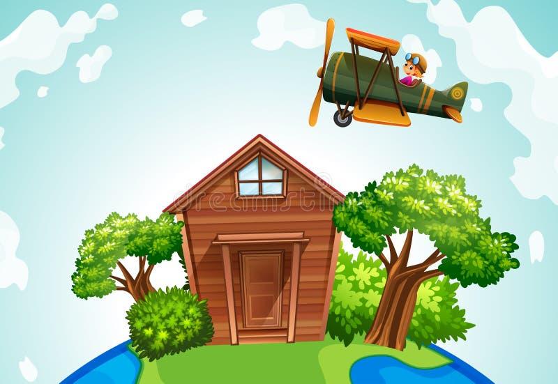 Самолет летая над деревянным домом иллюстрация штока