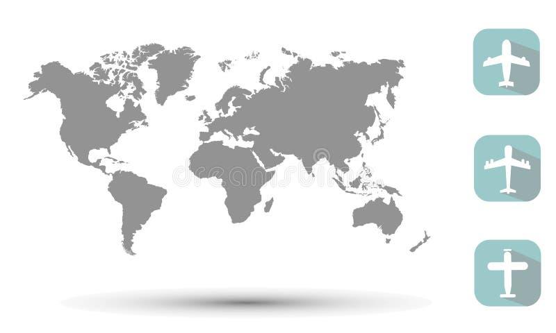 Самолет значка и мир карты стоковые изображения rf