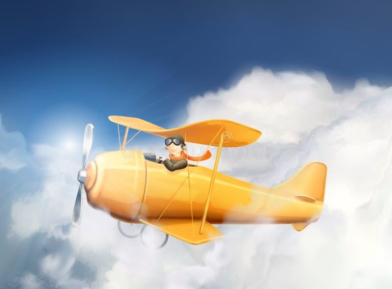 Самолет и пилот в облаках иллюстрация штока