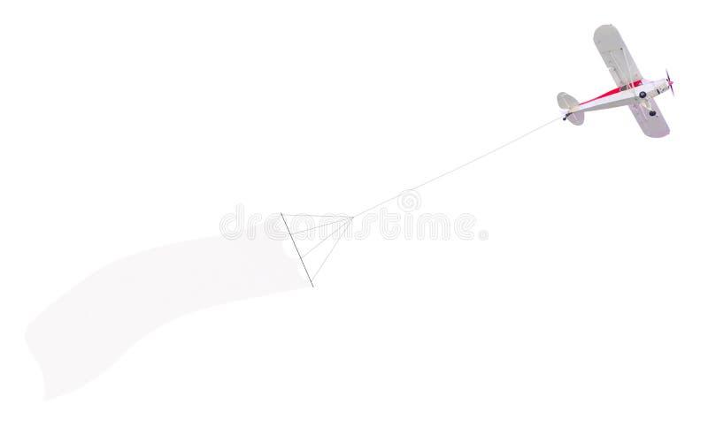 Самолет один двигателя с знаменем стоковое фото rf