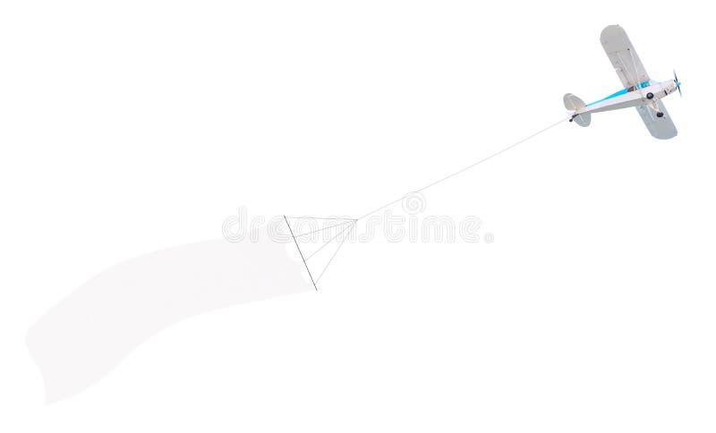 Самолет один двигателя с знаменем стоковые фотографии rf