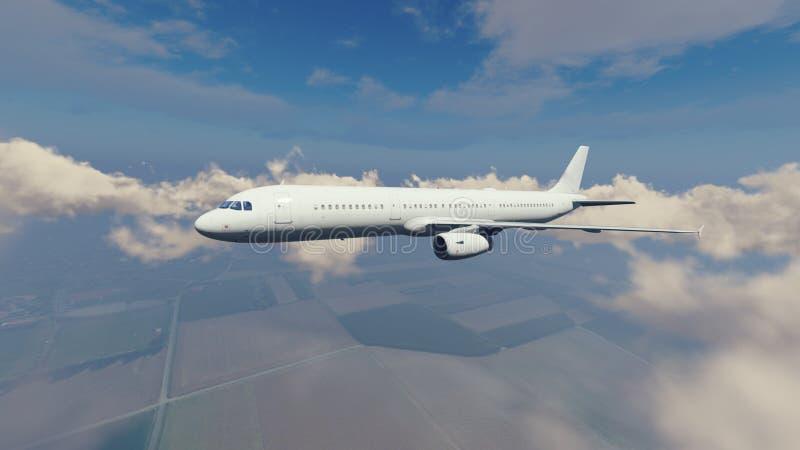 Самолет пассажира высокий в небе иллюстрация штока